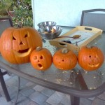 Carving pumpkins with the kids