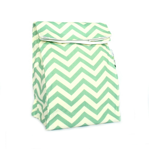 Organic Lunch Bag - Sea Green Chevron2