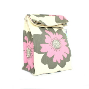 Organic Lunch Bag -- Pink and Gray2