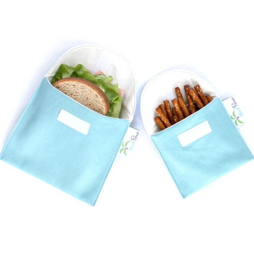 Organic Sandwich Snack Bags - Aqua Blue 1b