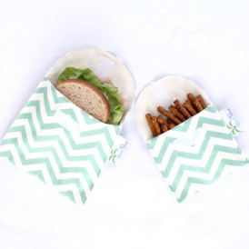Organic Sandwich Snack Bags - Sea Green Chevron 1b