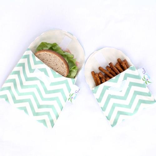 Organic Sandwich Snack Bags - Sea Green Chevron 1b