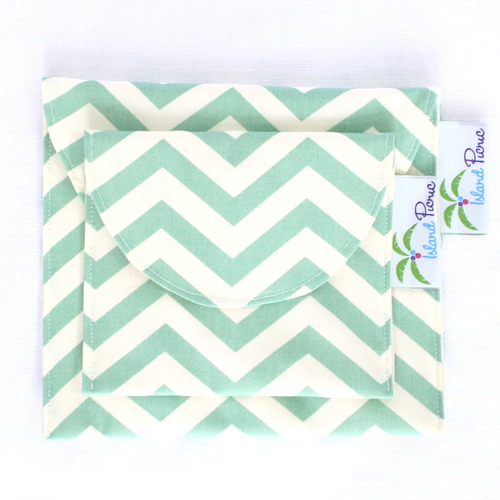 Organic Sandwich Snack Bags - Sea Green Chevron 2b