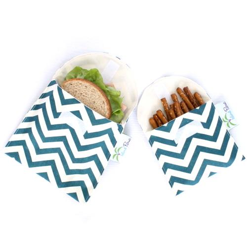 Organic Sandwich Snack Bags - Teal Blue Chevron 1b
