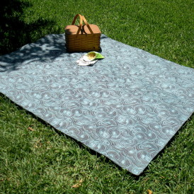 Organic Cotton Picnic Blanket - Brown & Aqua Blue Swirl