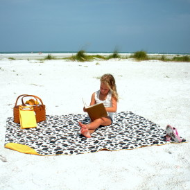 Organic Cotton Picnic Blanket - Black/White/Yellow