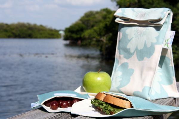 Organic Lunch Bag Set - Aqua Floral 2