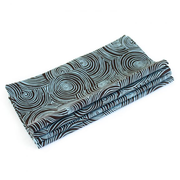 Organic Cotton Napkins in Brown & Aqua Swirl, Set of Four
