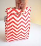 Organic Cotton Lunch Bag -- Coral Chevron