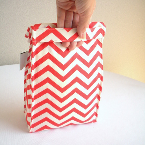 Organic Cotton Lunch Bag -- Coral Chevron