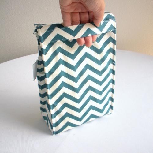 Organic Cotton Lunch Bag -- Teal Blue Chevron