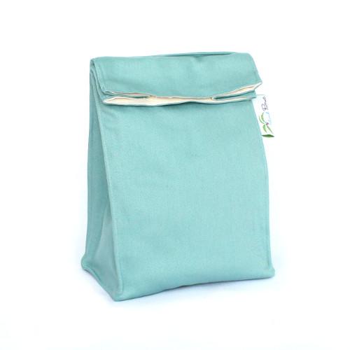 Organic Lunch Bag -- Aqua Blue 2a