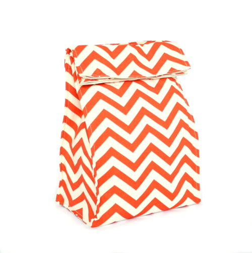 .Organic Lunch Bag -- Coral Chevron2a