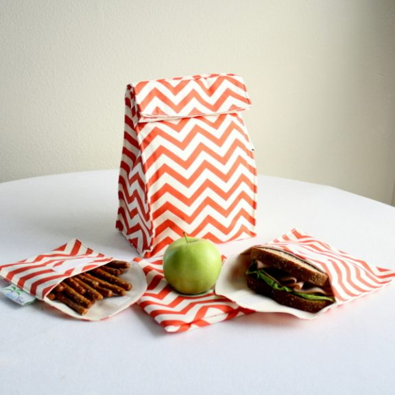 Organic Lunch Bag Set - Coral Chevron