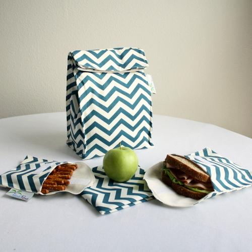 Organic Lunch Bag Set - Teal Chevron 1