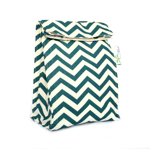 Organic Lunch Bag - Teal Chevron2