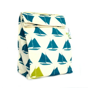 Organic Lunch Bag - Teal Sailboats2