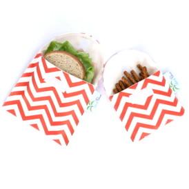 Organic Sandwich Snack Bags - Coral Chevron 1b