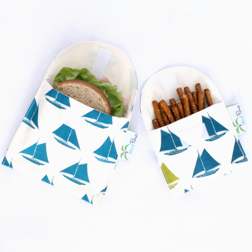 Organic Sandwich Snack Bags - Teal Blue Sailboats 1a