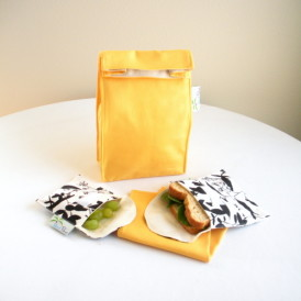 Organic Lunch Set in Yellow with Black & White