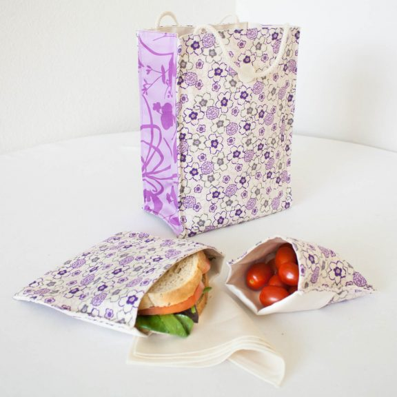 OrganicSandwichSnackBagsPurpleFloral