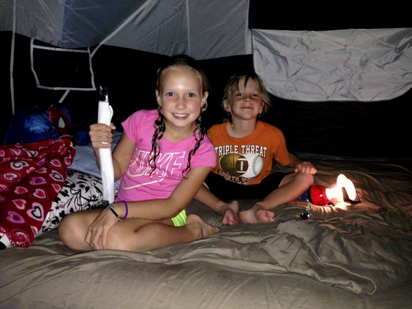 Backyard Camping - Kids getting ready for bed