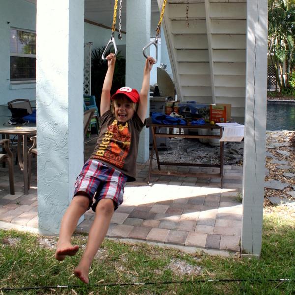 Backyard Camping - Trevor swinging