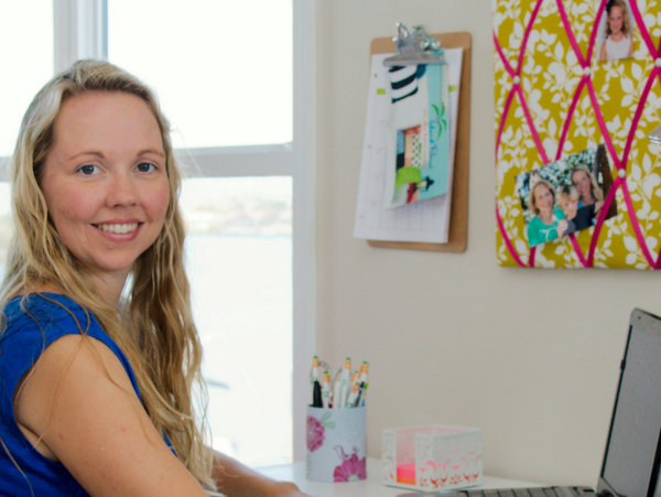 Leah in her home office - Island Picnic made in America