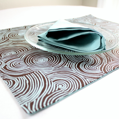 Organic Cotton Placemat -- Brown Aqua Swirl/Aqua Blue Reversible
