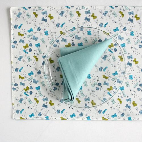 Organic Cotton Placemat -- Butterflies/Aqua Blue Reversible