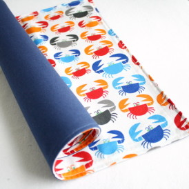 Organic Cotton Placemat -- Colorful Crabs/Navy Blue Reversible