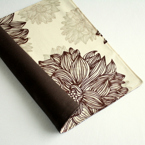 Organic Cotton Placemat -- Brown Flowers/Chocolate Brown Reversible