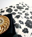 Organic Cotton Placemat -- Black & White Floral/Yellow Reversible