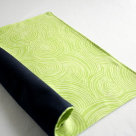 Organic Cotton Placemat -- Lime Green Swirl/Navy Blue Reversible