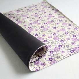 Organic Cotton Placemat -- Purple Floral/Charcoal Gray Reversible