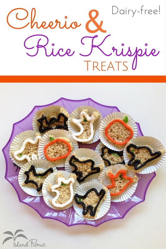 Dairy-free Cheerio and Rice Krispie Treats -- easy & delicious!