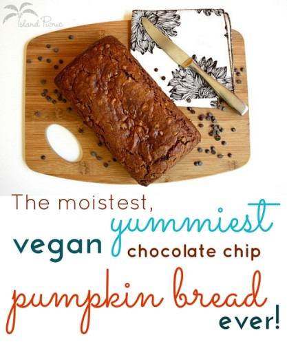 The moistest, yummiest vegan chocolate chip pumkpin bread ever!