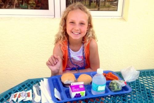 Jillian safely eating school lunch!