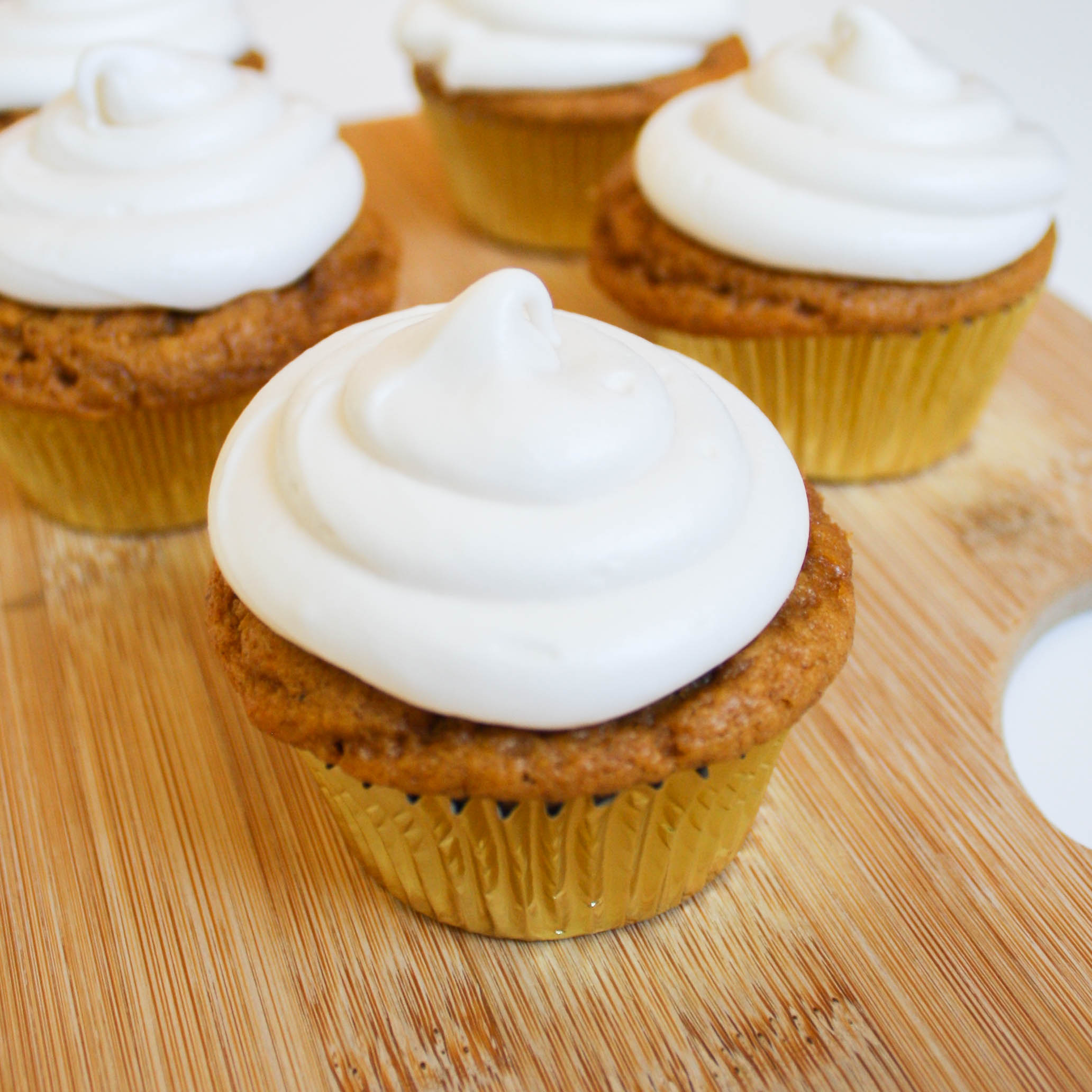 FALL for these Pumpkin Spice Cupcakes with Vegan Cream Cheese Icing!