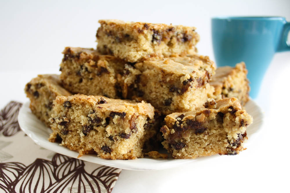 Moist & Chewy Chocolate Chip Blondies -- Vegan & Dairy-free