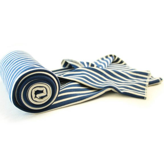 Organic Cotton Swaddle Blanket -- Nautical Navy Stripe