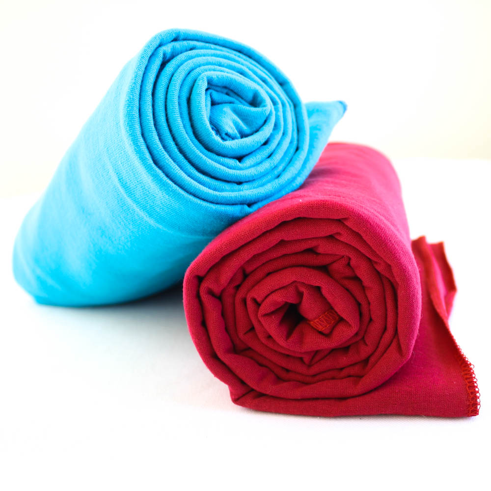 Organic Cotton Swaddle Blankets -- Bright Blue & Red