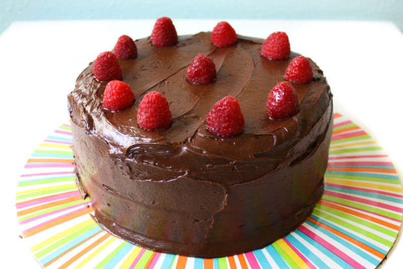 Vegan Chocolate Cake with Chocolate Fudge Icing