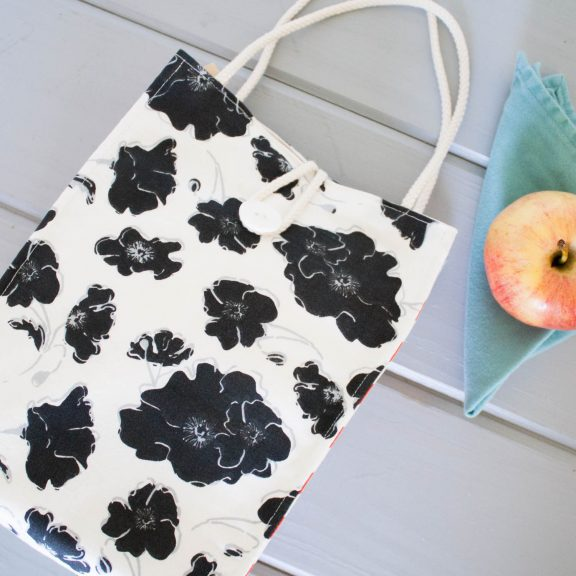 Organic Cotton Lunch Bag -- Black and White Graceland