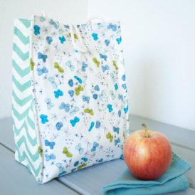 Organic Cotton Lunch Bag -- Blue Butterflies