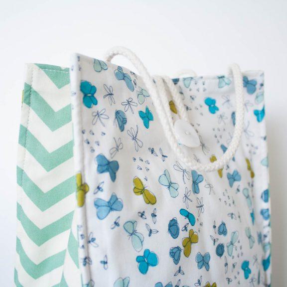 Organic Cotton Lunch Bag -- Blue Butterflies