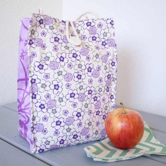 Organic Cotton Lunch Bag -- Purple Floral
