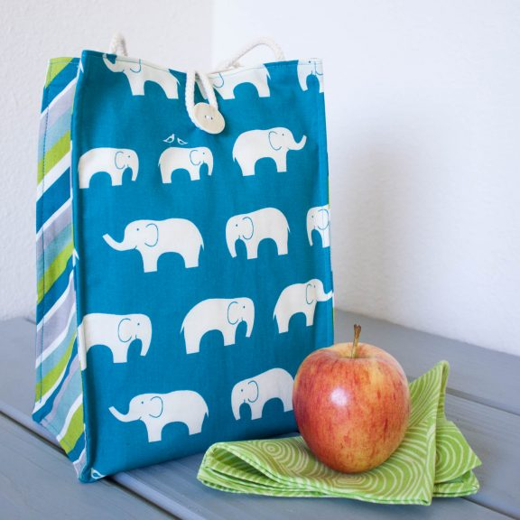 Organic Cotton Lunch Bag -- Blue Elephants