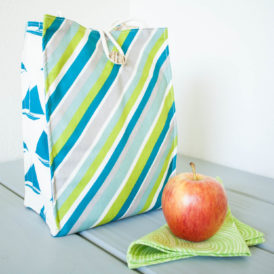 Organic Cotton Lunch Bag -- Blue and Green Stripes with Sailboats