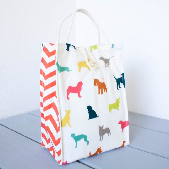 Organic Cotton Lunch Bag -- Colorful Puppy Dogs